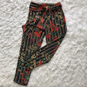 Zara Floral and Stripe Pants With Tie Waist